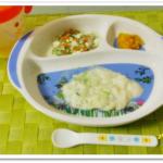 離乳食66日2回目ブロッコリーミルクパン粥
