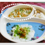 離乳食71日1回目にんじん・かぶ・豆腐のくず煮