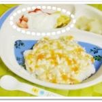 離乳食142日3回目バナナといちごのヨーグルト