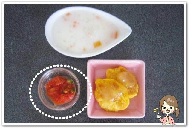 離乳食147日2回目きゅうりとトマトの和え物