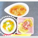 離乳食153日2回目豆腐・にんじん・きゅうりのあんかけ