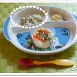 離乳食84日1回目豆腐・にんじん・ブロッコリーの和え物